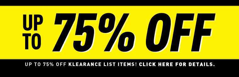 75% off Klearance Items