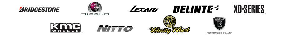 We carry products from Bridgestone, Diablo, Lexani, Delinte, Velocity, Borghini, XD Wheels, KMC, and Nitto.