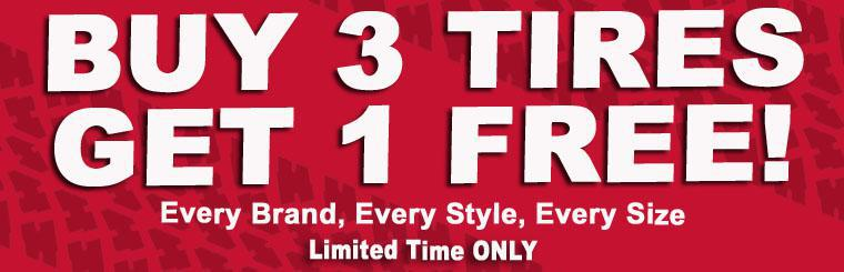 Buy 3 Tires Get 1 Free. Contac Us.