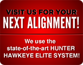 Visit us for your next alignment! We use the state-of-the-art Hunter Hawkeye Elite System!