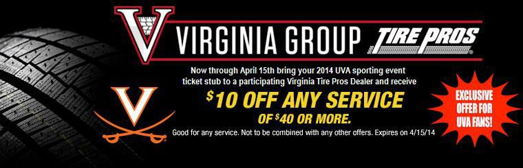 $10 Off Any Service with Your UVA Sporting Event Ticket Stub
