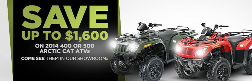 Save up to $1,600 on 2014 Arctic Cat 400 and 500 ATVs!