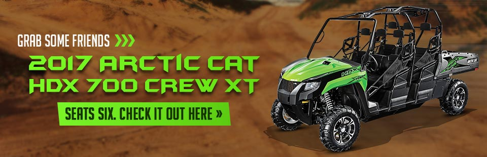 The 2017 Arctic Cat HDX 700 CREW XT seats six! Click here to view the model.