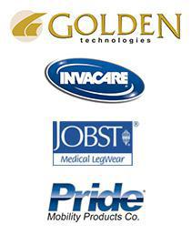We carry products from Invacare, Pride, Jobst, and Golden Technologies.