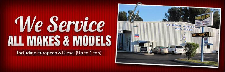 We service all makes and models, including European and diesel vehicles up to one ton. Click here to view the services we offer.
