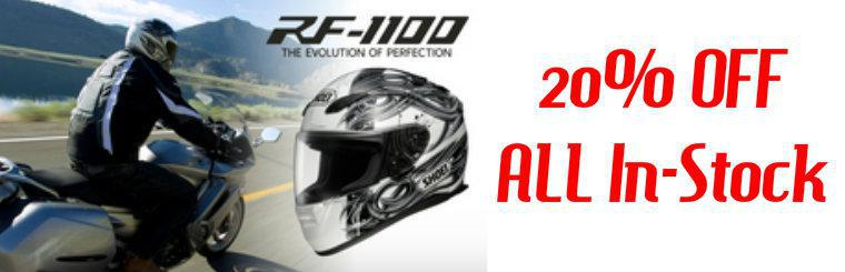 20% Off All In-Stock Shoei RF-1100 Helmets