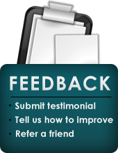 Feedback: Submit Testimonial, Tell Us How to Improve, Refer a Friend