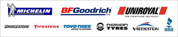 We carry products from Michelin®, BFGoodrich®, Uniroyal®, Toyo, Nokian, Bridgestone, Firestone,  and Vredestein. We are accredited by the BBB.
