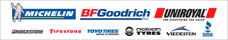 We carry products from Michelin®, BFGoodrich®, Uniroyal®, Bridgestone, Firestone, Toyo, Nokian, and Vredestein. We are accredited by the BBB.