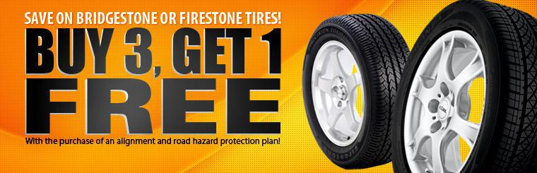 Buy 3 Bridgestone or Firestone Tires, Get 1 Free