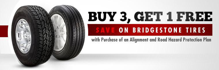 Buy 3 Firestone tires and get one free with the purchase of an alignment and road hazard protection plan! Click here for a coupon.