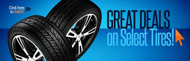 Great Deals on Select Tires: Click here to save!