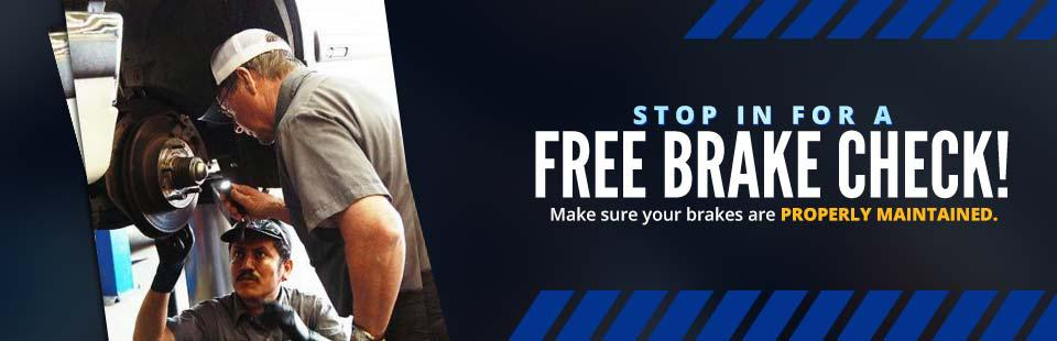 Stop in for a free brake check!
