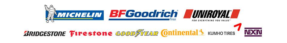 We carry products from Michelin®, BFGoodrich®, Uniroyal®, Bridgestone, Firestone, Goodyear, Continental, Kumho, and Nexen.