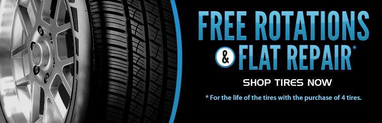 Purchase 4 tires and get free tire rotations and flat repair for the life of the tires! Click here to browse tires.