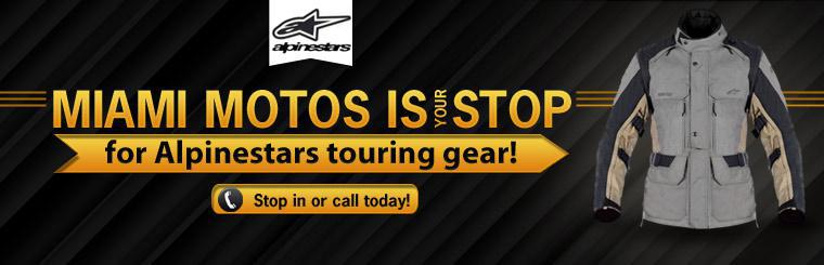 Miami Motos is your stop for Alpinestars touring gear! Stop in or call today!