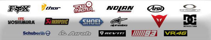 We proudly offer products from Fox, Thor, Tour Master, Nolan, Arai, Oakley, Yoshimura, Akrapovic, Shoei, Alpinestars, Dainese, DC, Schuberth, Airoh, Rev'it, MM93, and VR 46.
