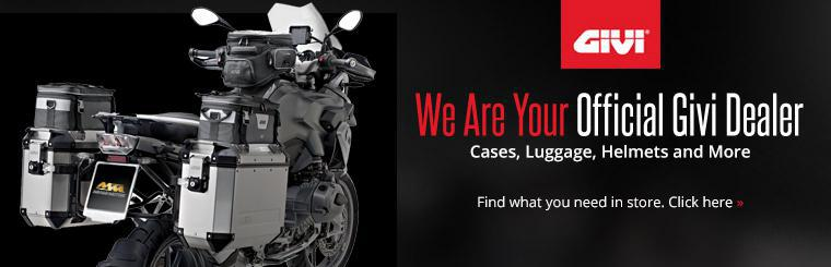 We are your official Givi dealer for cases, luggage, helmets and more. Click here to contact us for details.