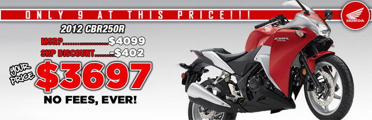2012 CBR250R ON SALE NOW AT SOUTHERN HONDA. WE WILL BEAT ANY PRICE ON CBR250R.