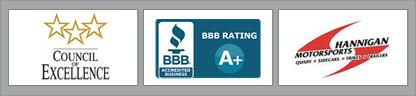 Council of Excellence. BBB Accredited Business. Hannigan Motorsports.