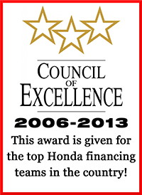 Council of Excellence 2006-2013: This award is given to the top Honda financing teams in the country!