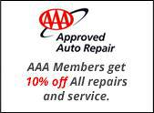 AAA Members get 10% off all repairs and service.