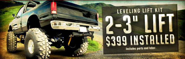 Get a Leveling Lift Kit for only $399 installed. Offer includes parts and labor. Click here to request service.