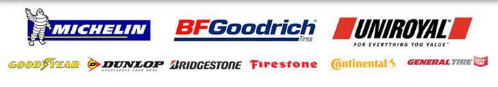 Michelin®, BFGoodrich®, Uniroyal®, Goodyear, Bridgestone, Firestone, Dunlop, Continental, General, and Hankook