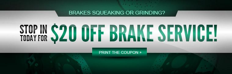 Save twenty dollars on your next brake service!