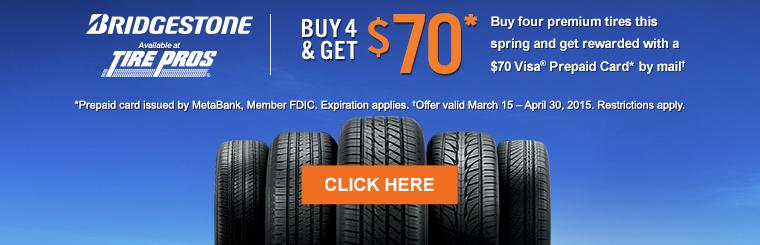 Bridgestone Buy 4 & Get $70 Visa® prepaid card by mail. Click for details.