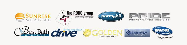 We carry products from Sunrise Medical, The ROHO Group, Permobil, Pride Mobility, Best Bath, Drive Medical, Golden Technologies, Prairie View, and Invacare.