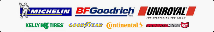 We carry products from Michelin®, BFGoodrich®, Uniroyal®, Kelly, Goodyear, Continental, and General.