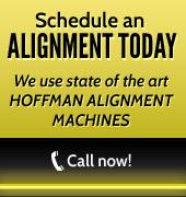 Schedule an alignment today. We use state of the art Hoffman alignment machines. Call now!