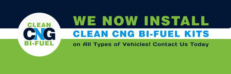 We now install clean CNG Bi-Fuel kits on all types of vehicles! Contact us for more information.