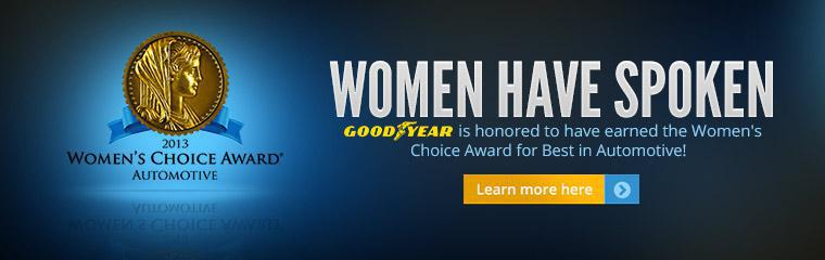 Goodyear is honored to have earned the Women's Choice Award for Best in Automotive! Click here to learn more.