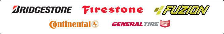 We carry products from Bridgestone, Firestone, Fuzion, Continental, and General Tire.