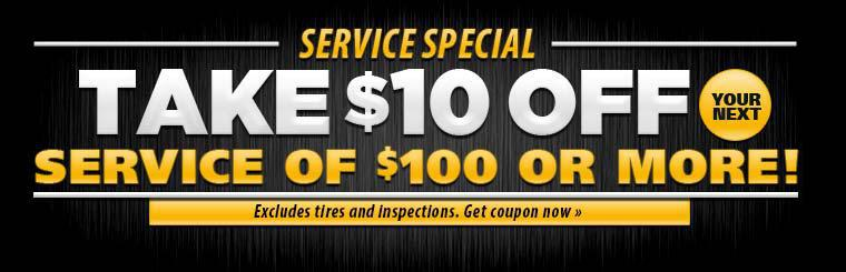 Take $10 off your next service of $100 or more! Offer excludes tires and inspections. Click here for a coupon.