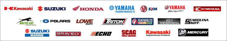 We carry products for Kawasaki, Suzuki, Honda, Yamaha Power Products, SYM, Yamaha, KYMCOUSA, Arctic Cat, Polaris, Lowe Boats, Triton Trailer, Feather Lite Trailer, Veranda, Carolina Skiff, Suzuki Marine, Gravely, Echo, Scag, Kawasaki Power Equipment, and Mercury Boats.