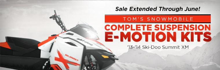 Tom's Snowmobile Complete Suspension E-Motion Kit Sale is extended through June!