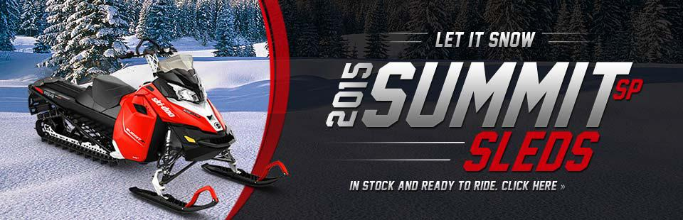 Let it snow with the 2015 Summit SP sleds! We have them in stock and ready to ride! Click here to view our selection.