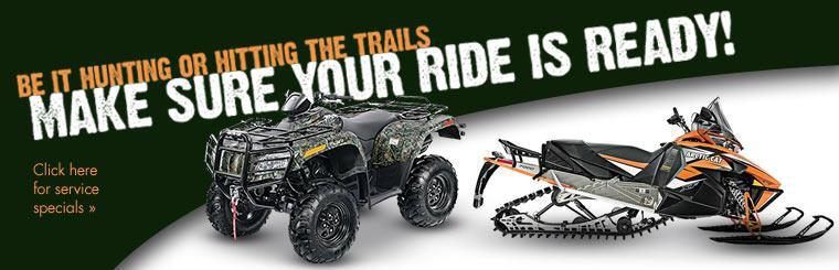 Be it hunting or hitting the trails, make sure your ride is ready! Click here for service specials.