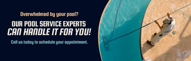 Overwhelmed by your pool? Our pool service experts can handle it for you! Call us today to schedule your appointment.