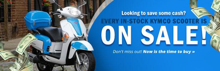 Every in-stock KYMCO scooter is on sale! Don't miss out! Now is the time to buy.