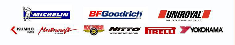 We carry products by Michelin®, BFGoodrich®, Uniroyal®, Kumho, Mastercraft Tires, Mickey Thompson, Nitto, Pirelli and, Yokohama
