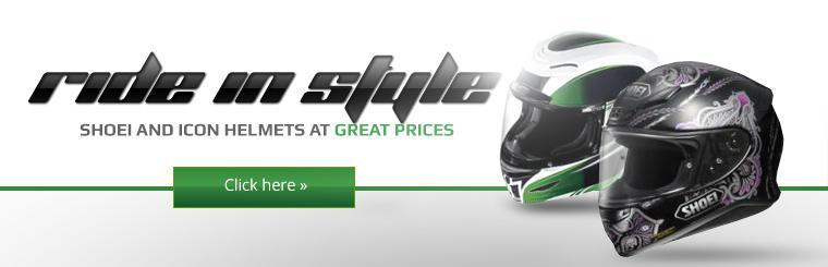 Click here to shop Shoei and Icon helmets at great prices!