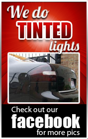 We do tinted lights. Check out our Facebook for more pics.
