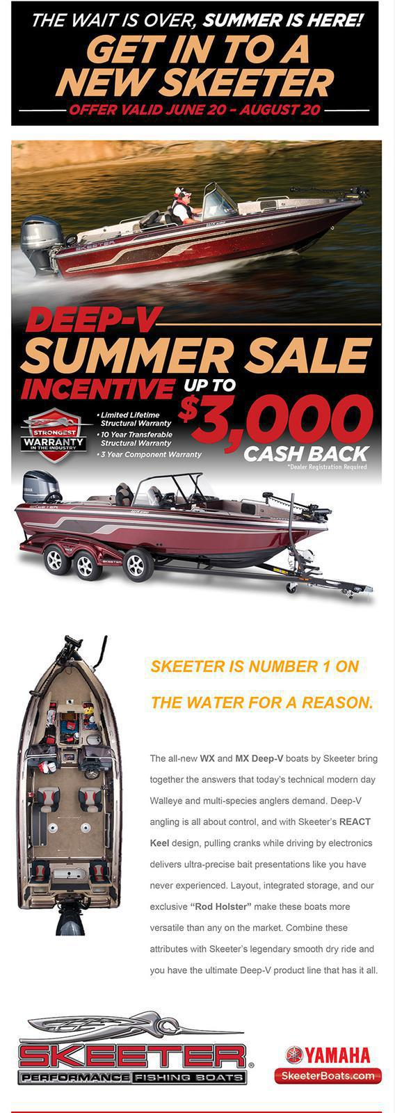 The Wait is Over, Summer is Here!  Get into a New Skeeter. Up to $3,000 Cash Back.