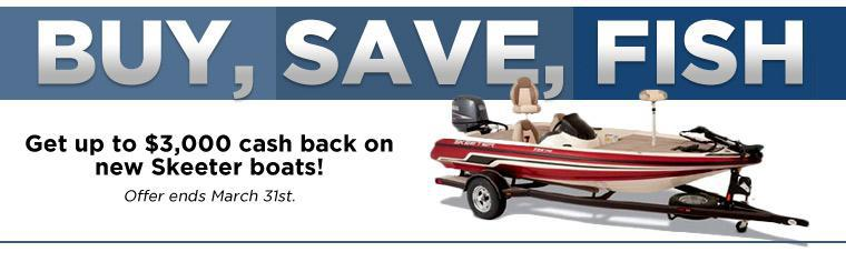 Get up to $3,000 cash back on new Skeeter boats!