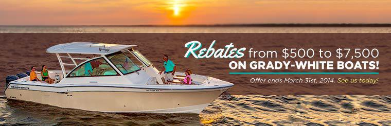 Take advantage of rebates from $500 to $7,500 on Grady-White boats! This offer ends March 31st, 2014. See us today!