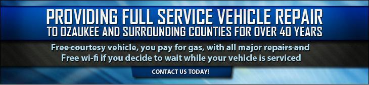 Providing Full Service Vehicle Repair to Ozaukee and surrounding countries for over 40 years. Free courtesy vehicle (you pay for gas) with all major repairs and free wi-fi if you decide to wait while our vehicle is serviced. Click here to contact us today.